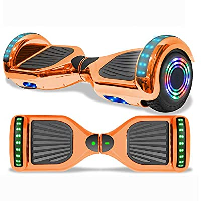"Longtime 6.5"" Chrome Metallic Hoverboard Self Balancing Scooter with Speaker LED Lights Flashing Wheels (- Chrome Rose Gold)"