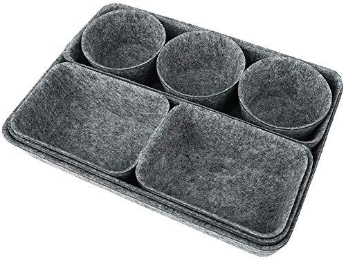Yodensity Bandejas organizadoras de fieltro para cajones, 8 paquetes de organizador de oficina, divisores (gris)