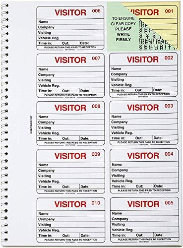 IDENTIBADGE Visitors Book Refill 300 Beilagen GDPR-konformes Anmelde- und Abmeldesystem-Passbuch (Englisch)
