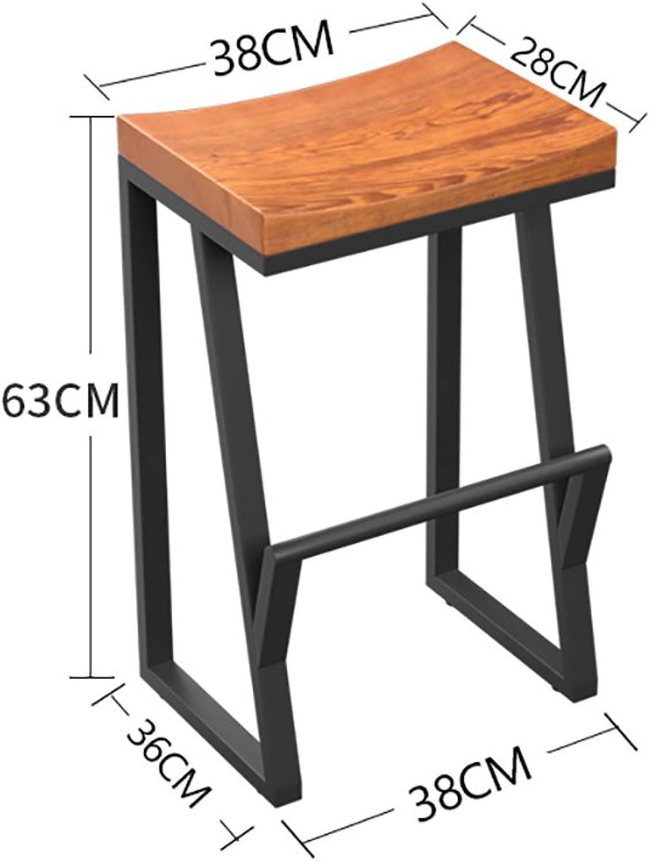 European Chair Retro Bar Chair Iron Bar Chair Wood Bar Chair Creative Bar Stool Leisure Bar Chair Front Coffee Chair (Size   63cm)