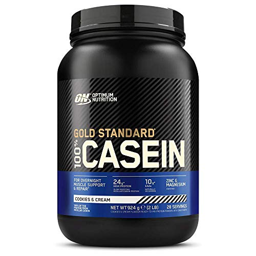 Optimum Nutrition Gold Standard Casein Slow Digesting Protein Powder with Zinc, Magnesium and Naturally Occuring Glutamine and Amino Acids, Cookies & Cream, 28 Servings, 0.9 kg, Packaging May Vary