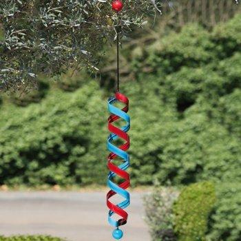 Carillon – Broche Long – Rouge/Bleu – Métal – Ø 10 cm/hauteur : 71 cm – Suspension incluse (Chaîne : 40 cm)