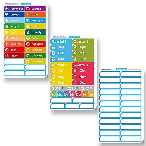 weekview Planungs-Header S   ablösbar von glatten Oberflächen und wiederverwendbar   ideal zur Planung von Zeiträumen, Scrum, Kanban etc. an Whiteboards   mit der cleveren Lasche!