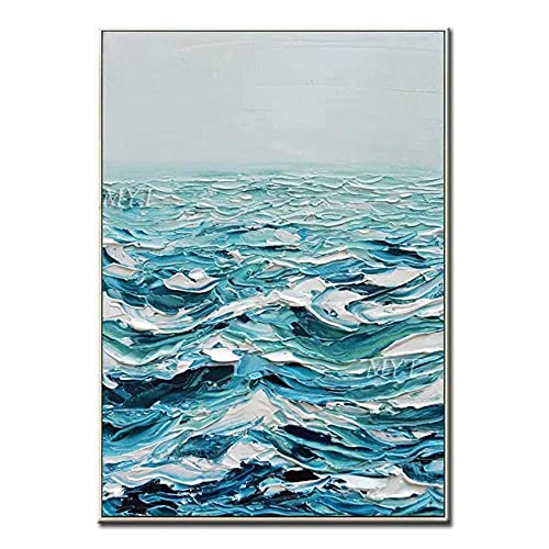 Living Equipment Hand Painted Oil Painting On Canvas,Palette Knife Sea Wave Landscape Abstract Artwork Painting,Modern Wall Art Pop Picture,For Living Room Bedroom Wall Decor,120X180Cm Frameless