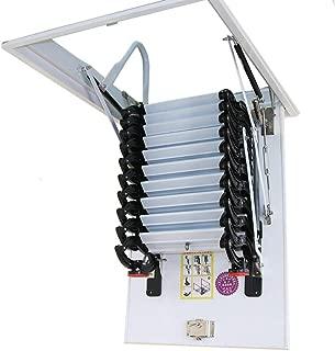 INTBUYING Black Folding Loft Ladder Stairs Attic Extension Ladder Heavy Duty Carbon Steel Metal 31.5x35.4inch