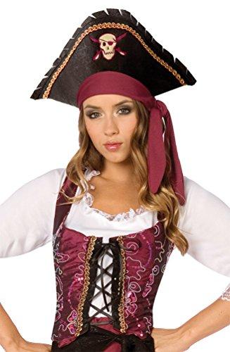 Karneval-Klamotten Piratin Kostüm Piratenkostüm Damen-Kostüm Freibeuterin Piraten-Weste Bordeaux-schwarz-Gold