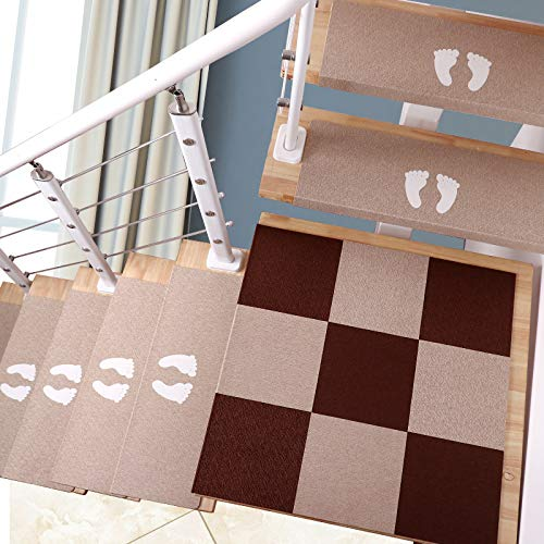 Set di tappetini per Scale Luminosi da 5 Pezzi, tappetini autoadesivi per tappeti per Scale, Tappeto Beige per tappetini per Scale, 75 * 21,5 * 4 cm,Beige~A-L