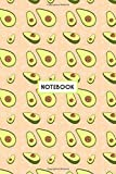 Notebook: Kawaii Green Avocados Peach, Wide Ruled 110 pages (6.14' x 9.21')