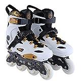 Patines En Linea Mujer Hombre Zapatos De Skate En Línea Para Adultos De Una Sola Fila Zapatos Profesionales Niña Niño,White-38