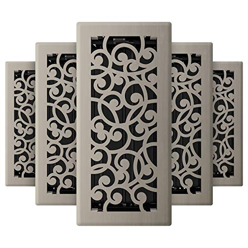 Imperial RG3360 Wonderland Decorative Floor Register, 4 x 10-Inch, Brushed Nickel, 5 Pack