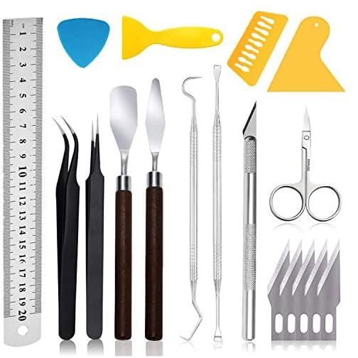 Craft Weeding Tools for Vinyl: 18 PCS Craft Basic Set Tools Kits Including Scissor, Tweezers, Weeders, Scraper, Spatula… |