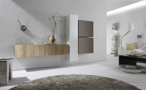 Web Convenienza Cube 3 M Rovere Miele Bianco Lucido e Beige Opaco Parete Attrezzata Soggiorno Moderna