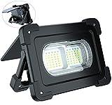 ERAY Luz de Trabajo, Foco LED Recargable con Altavoz Bluetooth/ 80W 6000 Lúmenes/Panel Solar/ 4 Modos de Iluminación/ IP65/ Batería Externa de 10000mAh, Ideal para Camping, Trabajo, Pesca (Negro)