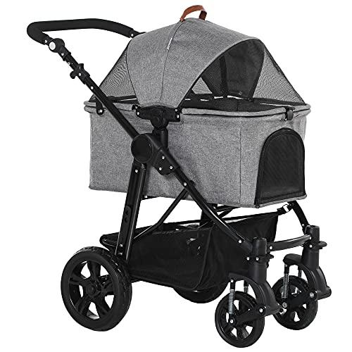 PawHut Dog Stroller Pushchair Detachable Pet Carrier Carrying Bag Foldable...