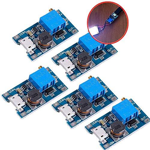 iHaospace 5 Pcs DC-DC Boost Converter Step-up Voltage Regulator Voltage Stabilizer Adjustable Power Supply DC 2-24V To 5V 9V 12V 24V 2A with Micro USB Input