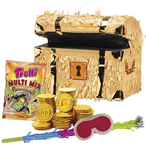 PartyMarty Piraten Set: Pinata Schatztruhe + 96 Goldmünzen + Schläger + Maske + Süßigkeiten-Füllung Kinder