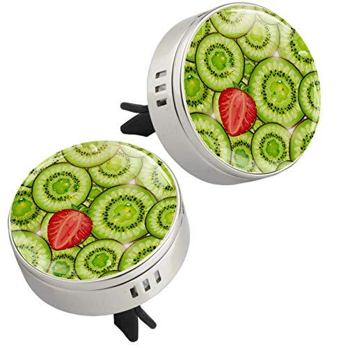 Z&Q Difusor de aceites Esenciales de aromaterapia Fresa De Kiwi ambientador para Las Rejillas de ventilación del Coche 4 Almohadillas de Recambio 33.8mmX46.4mm