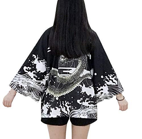 LAI MENG Damen Lose Kimono mit Japanisches Muster 3/4 Arm Cover up Leichte Jacke EU 34-48