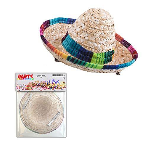 PARTY DISCOUNT Mini-Hut Sombrero aus Stoh, mit Clips