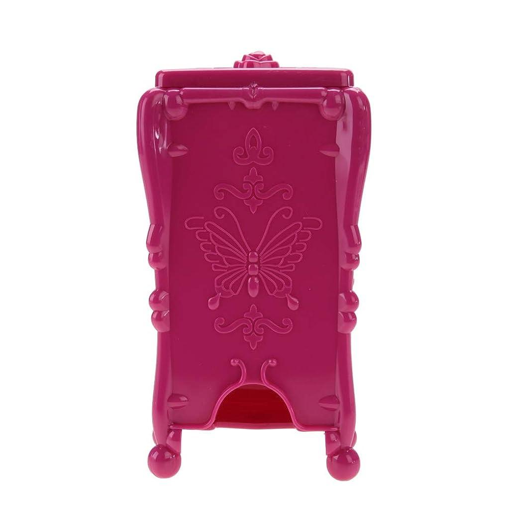 オンス地下異常な収納ボックス メイクアップコットンパッドオーガナイザー収納ボックスネイルアートワイプコットンメイクツール (ローズレッド)