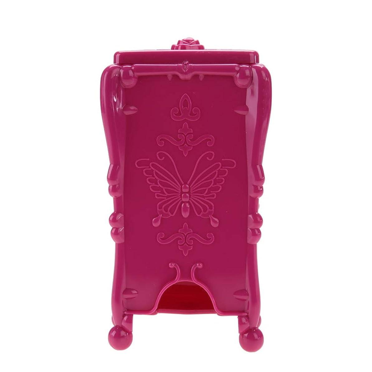 郵便番号したい独立して収納ボックス メイクアップコットンパッドオーガナイザー収納ボックスネイルアートワイプコットンメイクツール (ローズレッド)