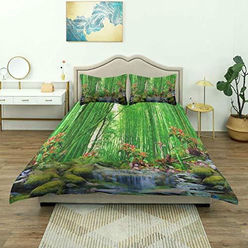 Funda nórdica, Bambú Verde Verano al Aire Libre Bosque Selva Cascada Roca Naturaleza Paisaje Paisaje, Ropa de Cama de Lujo Cómodo Microfibra Ligera y cómoda