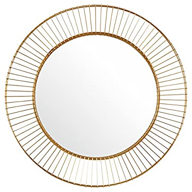 Rivet Modern Round Iron Circle Metal Mirror, 27.75  Diameter, Gold Finish