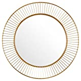 Amazon Brand – Rivet Modern Round Iron Circle Metal Hanging Wall Mirror, 27.75' Diameter, Gold Finish