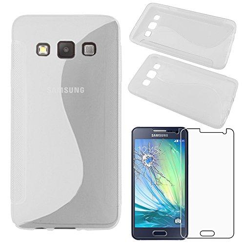 ebestStar - kompatibel mit Samsung Galaxy A3 Hülle SM-A300F (2015) TPU S-line Style Silikongel Handyhülle, Schutzhülle Case Cover, Transparent + Panzerglas Schutzfolie [Phone: 130.1x65.5x6.9mm, 4.5