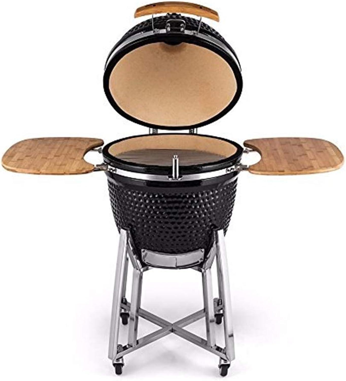 ILUVBBQ 21-Zoll-Schwarz-Outdoor-Lifestyle 21-Zoll-Barbecue-Ei Holzkohle Keramik BBQ