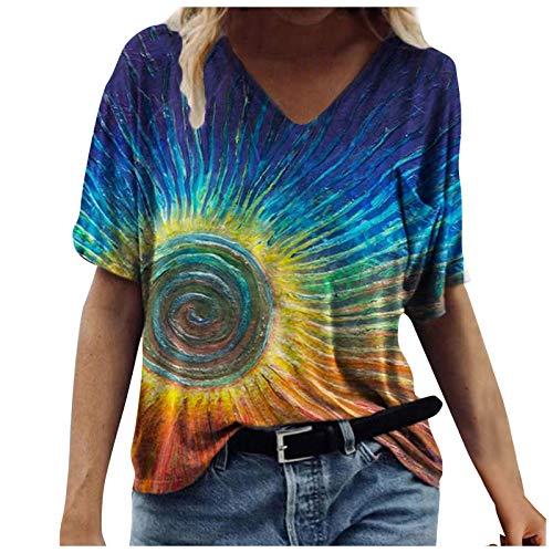 Camiseta de manga corta para mujer con gráficos 3D, informal, holgada, para verano, elegante, cuello en V, túnica, azul B, XL