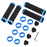 Washranp 2 Pairs Bicycle Handlebar Grips Double Lock-on Aluminum Alloy Non-Slip Bike Grips with 2 End Caps 1 Spanner for Mountain Road Bike Blue