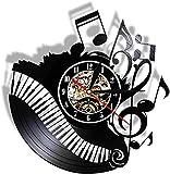 YYYFF Piano Room Music Score Disco in Vinile Orologio Musicista Pianista Insegnante Logo Personalizzato Wall Art Orologio in Vinile I Love Music Clock Clock-No LED