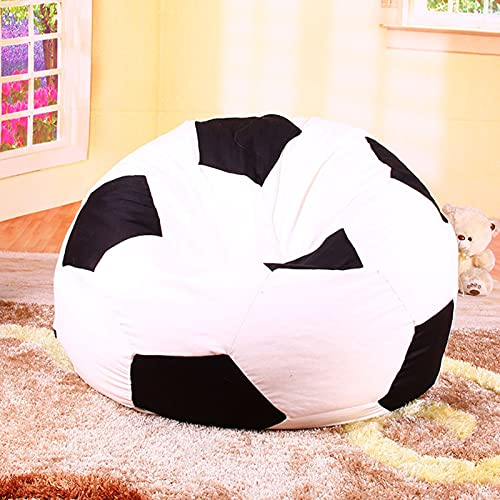 NCBH Bean bag covers without filling,Bean Bag Storage Chair Cover,Football Pattern Decoration Bean Bag Covers,with Handle Soft canvas Washable Bean Bag,for Adults and Kids,70cm