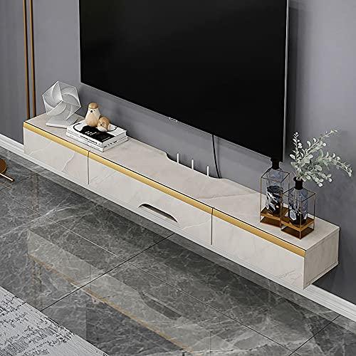 Mueble de TV Mesa Flotante,Soporte TV Gran Capacidad para Montar en la Pared,DiseñO Losa Roca para TV, Tabla Baja para Colgar en la Sala de Estar,Dormitorio/A / 120x25.6x16.8cm