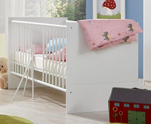 Dreams4Home Babybett 'Justus', Baby Bett, 70 x 140, Babyzimmer, Kinderzimmer, Kinderbett, Bettseiten, Ausführung:ohne Bettseiten
