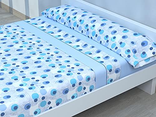 Juego de sábanas Estampadas de Microfibra Transpirable Mod. SAMJA (Disponible en Varios tamaños y Colores) (Azul, Cama de 135 cm (135_x_190/200 cm))