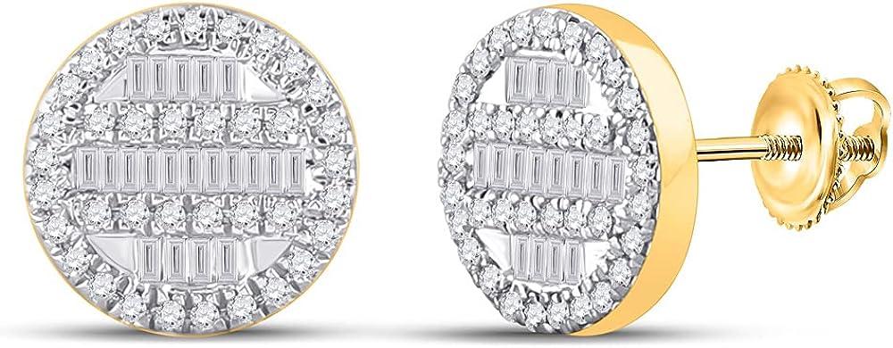 10kt Yellow Gold Mens Baguette Diamond Circle Cluster Earrings 1/3 Cttw