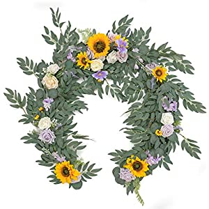 Ling's moment Artificial Eucalyptus Garland with Sunflower Flowers 6FT, Wedding Table Garland with Flowers Handcrafted Wedding Centerpieces for Rehearsal Dinner Bridal Shower   Sunflowers & Lavender