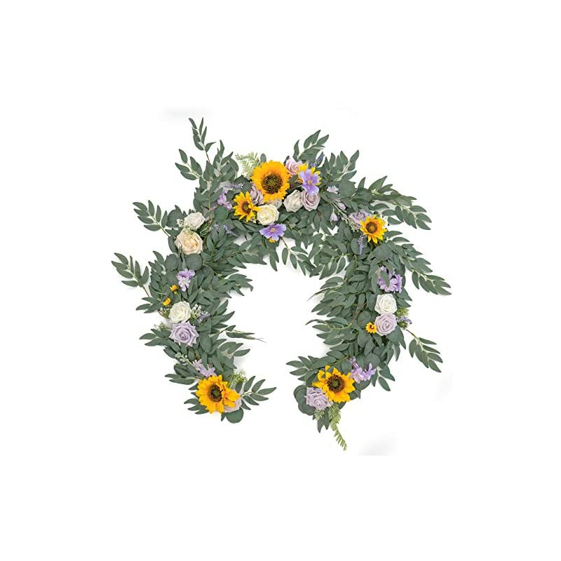 silk flower arrangements ling's moment artificial eucalyptus garland with sunflower flowers 6ft, wedding table garland with flowers handcrafted wedding centerpieces for rehearsal dinner bridal shower | sunflowers & lavender