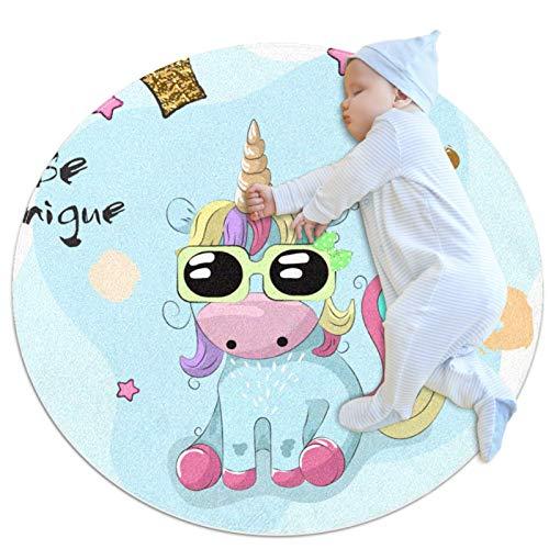 Baby kriechende Matte Sonnenbrille Einhorn Rundes, weiches, rutschfestes Raumdekor für Kleinkinder und Kleinkinder 70cm