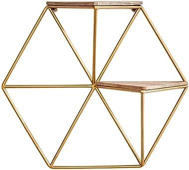KSW_KKW Fer d'or Simple étagère rétro Polygon éponte Salon Chambre Décoration Murale Cloison en Bois Massif Tablette (Tai