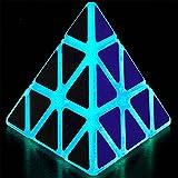 Luminous Pyramid Speed Cube Triangle Magic Cube Puzzle Toy Blue