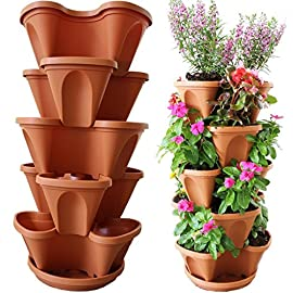Nature's Distributing Stacking Planters - 5 Tier - with Patented Flow Grid System 6 OUR PLANTERS STAND ALONE: The ONLY patented self-watering system available (Yes, you must add the water). We are the pioneers of the Stacking Planter industry! MULTI-TIER SET: Set consists of five tiers of planters, five patented self-watering grids, tray (for stacking), chain with swivel (for hanging), and instructions. SELF-WATERING BENEFITS: Don't worry about overwatering! These pots can self-regulate so plants stay healthy and hydrated, Self-watering - helps evenly distribute moisture throughout and keeps plants healthy because of a consistent water supply!
