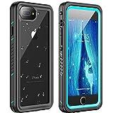 Huakay iPhone 7 Plus Waterproof Case, iPhone 8 Plus Waterproof Case Full Body Shockproof Sandproof Dirtproof IP68 Underwater Outdoor Waterproof Case for iPhone 7plus/8 Plus(Blue/Clear)