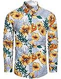 fohemr Camisa de Manga Larga Floral Casual con Botones y Estampado de Flores para Hombre algodón Estampado Floral Blanco X-Large