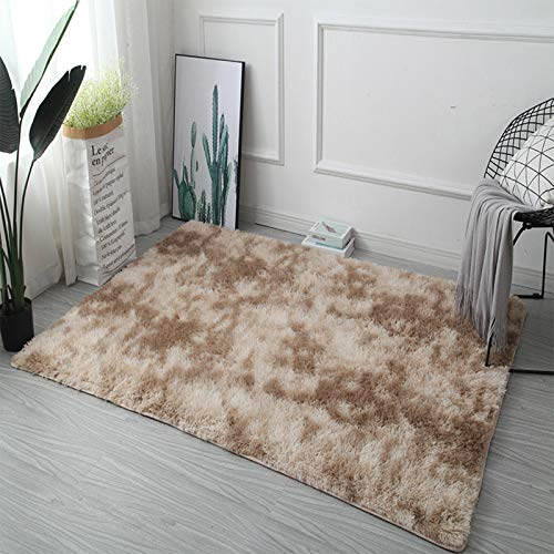 WENBING Alfombras Dormitorio Modernas Pelo Largo Lavables, 160 × 230 cm, Alfombra Salon Grandes Shaggy, para Comedor, Dormitorio, Pasillo y Habitación Juvenil,Camel