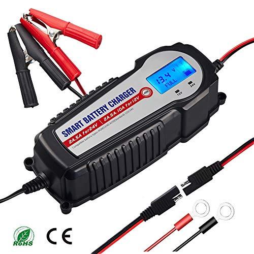 AKM Batterie Ladegerät 12V/24V 10A Winterlademodus,Aktualisierte Version LCD-Batteriespannungs- und Ladefortschrittsanzeige für KFZ PKW Auto Motorrad