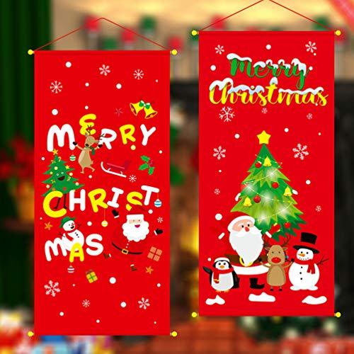 STOBOK 2 piezas navidad colgante casa bandera feliz navidad festivo colgante bandera tela tapiz tapiz alfombra para...