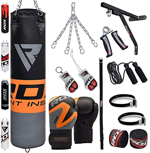 RDX Boxsack Set Gefüllt Kickboxen MMA Kampfsport Muay Thai Boxen mit wandhalterung Stahlkette Training Boxhandschuhe 17 PC Schwer 4FT 5FT Punching Bag (MEHRWEG)